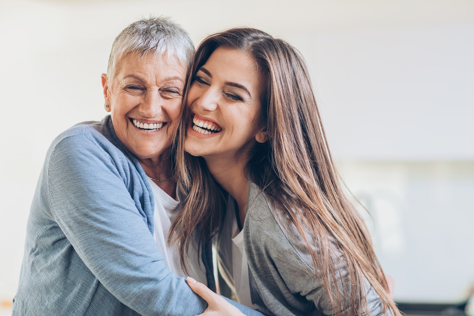 grandma and smiling young woman