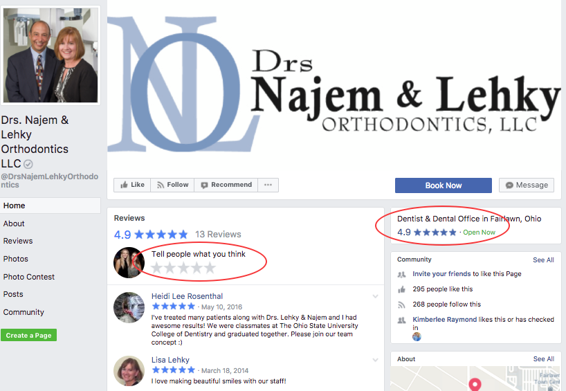 Drs. Najem & Lehky Facebook page review section
